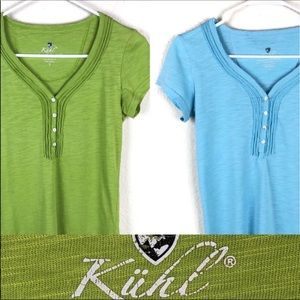 Kuhl Vega bundle. Two Henley tee, green and aqua